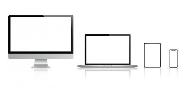 Conjunto realista de monitor, computadora portátil, tableta, teléfono inteligente