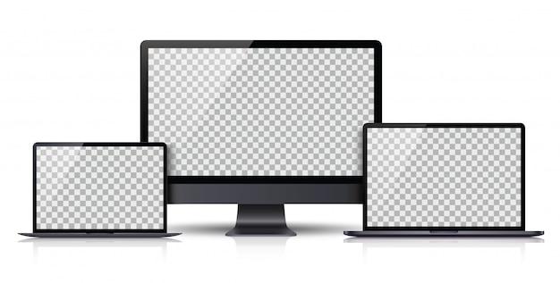 Conjunto realista de monitor, computadora portátil, tableta