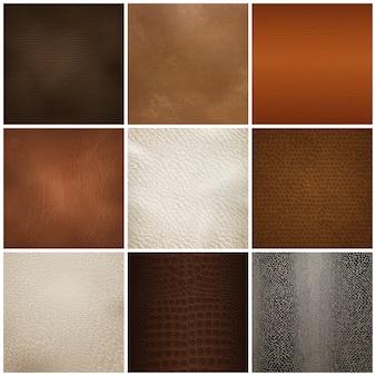 Conjunto realista de muestras de textura de cuero