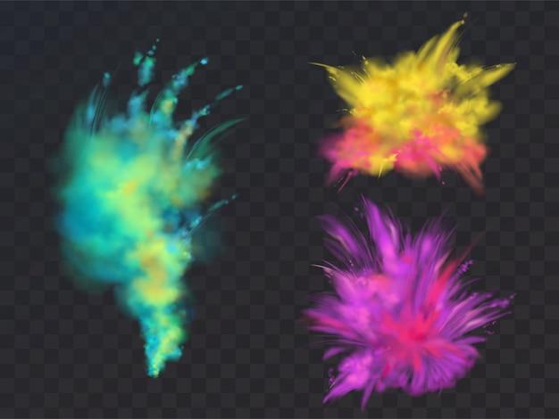 Conjunto realista de nubes de polvo de colores o explosiones, aisladas sobre fondo transparente.