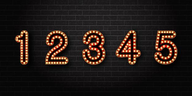 Conjunto realista de números retro de neón para decoración y revestimiento en el fondo de la pared.