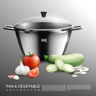 Conjunto realista de olla y verduras