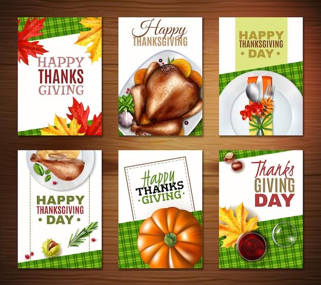 Conjunto realista de pancartas del día de acción de gracias de turquía