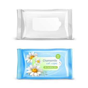 Conjunto realista de paquete de toallitas húmedas