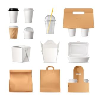Conjunto realista de paquetes de comida para llevar hechos de papel