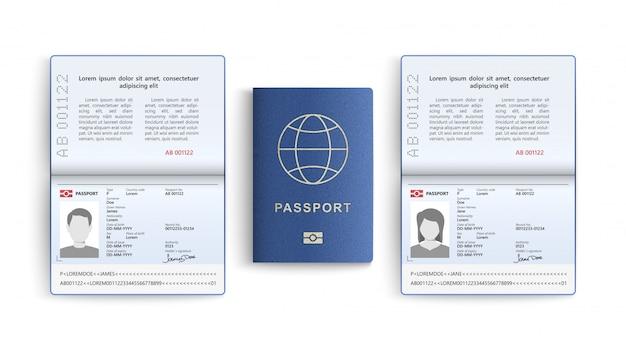 Conjunto realista de pasaporte. documento de identidad aislado