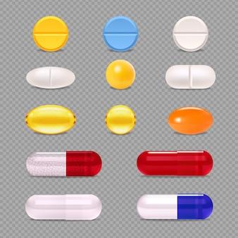 Conjunto realista de pastillas de medicina colorida gragea y cápsulas aisladas en la ilustración de vector de fondo transparente