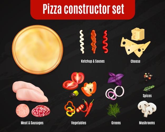 Conjunto realista de pizza constructor