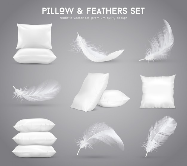 Conjunto realista de plumas y almohadas
