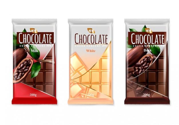 Conjunto realista de publicidad de chocolate de diseño de empaque de barras de marca de lujo blanco oscuro delicioso de leche aislado