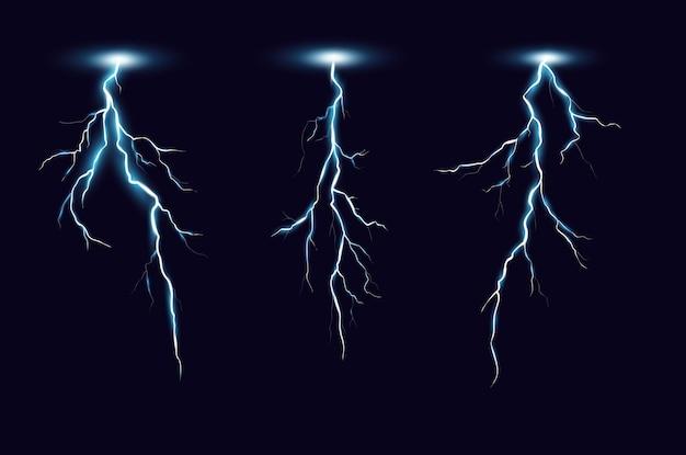 Conjunto realista de relámpagos. descarga de electricidad de tormenta aislada