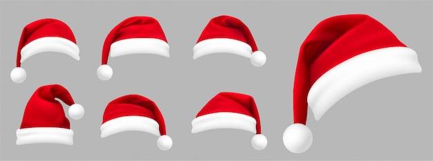 Conjunto realista de sombreros rojos de santa. año nuevo sombrero rojo. .