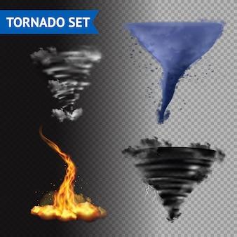 Conjunto realista de tornados 3d