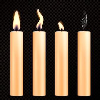 Conjunto realista de velas encendidas