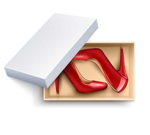 Conjunto realista de zapatos en caja