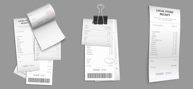 Conjunto de recibos de tienda con código de barras.