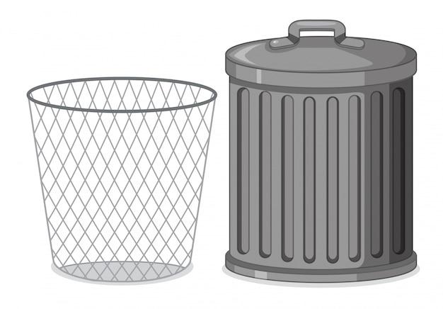 Conjunto de recipiente plástico de metal.