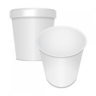 Conjunto de recipiente de taza de comida en blanco para comida rápida, postre, helado, yogur o merienda. ilustración, plantilla