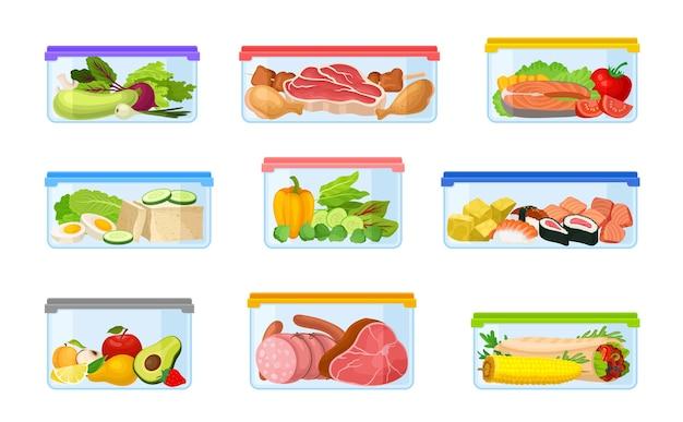 Conjunto de recipientes con verduras y carne.