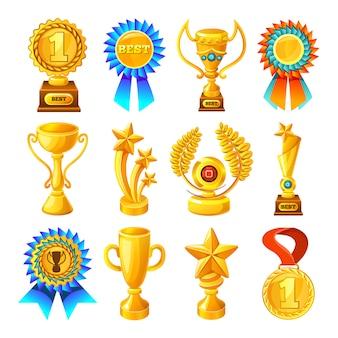 Conjunto de recompensas de oro de dibujos animados
