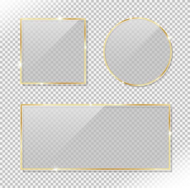Conjunto de rectángulo círculo brillante y marco de oro cuadrado con efecto de deslumbramiento brillante. vector realista de vidrio reflectante