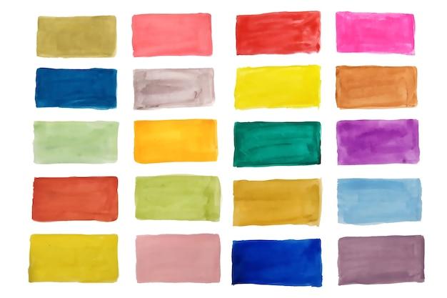 Conjunto de rectángulos coloridos de textura acuarela