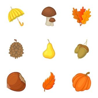 Conjunto de recursos forestales, estilo de dibujos animados