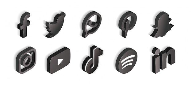 Conjunto de redes sociales de iconos en blanco y negro isométrico