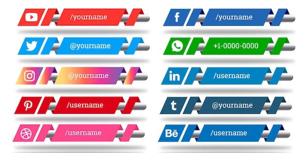 Conjunto de redes sociales de tercios inferiores