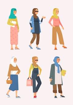 Conjunto de referencias de atuendo de estilo musulmán hijab para ilustración de mujeres jóvenes y adultas