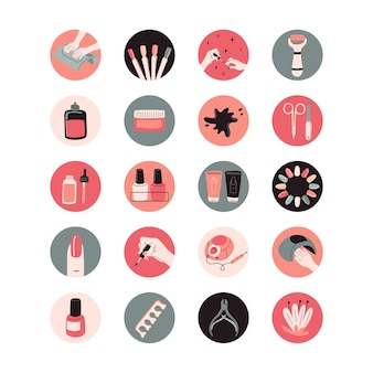 Conjunto de reflejos redondos para redes sociales kit de herramientas de manicura estudio de belleza profesional