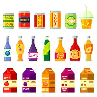 Conjunto de refrescos aislado en blanco