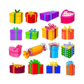 Conjunto de regalos aislado sobre fondo blanco.