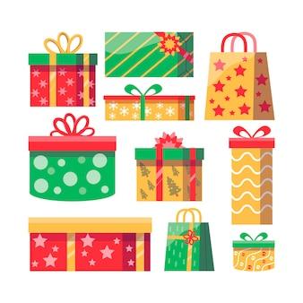 Conjunto de regalos de navidad dibujados