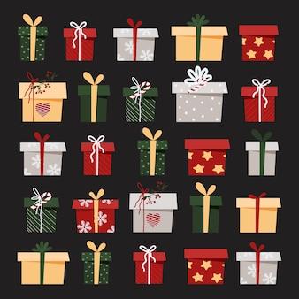 Conjunto de regalos de navidad sobre un fondo gris en un estilo plano