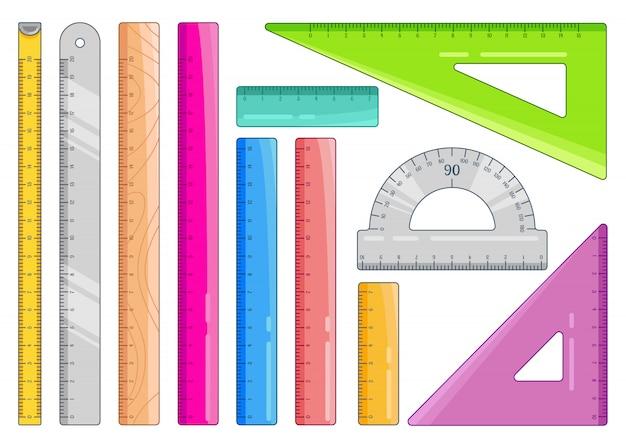Conjunto de reglas de colores. suministros de oficina de medición de arte y papelería escolar. ilustración en blanco.