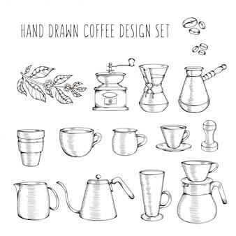 Conjunto relacionado café dibujado a mano