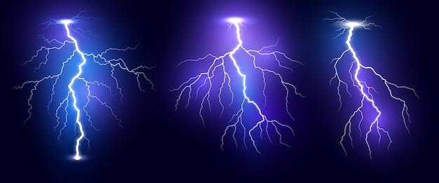 Conjunto de relámpagos realistas de tormenta de truenos