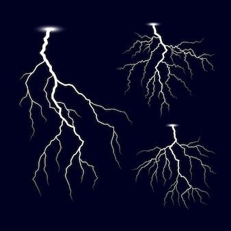 Conjunto de relámpagos de tormenta de truenos
