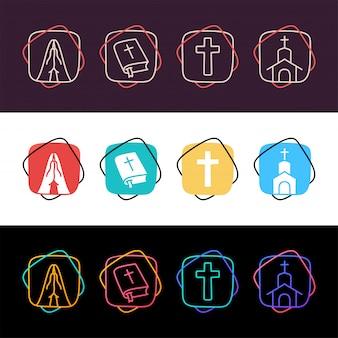 Conjunto de religión cristiana simple colorido icono en tres estilos. cruz, rezar, iglesia, santa biblia