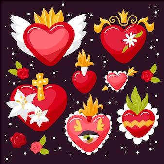 Conjunto religioso de corazones sagrados