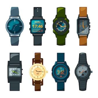 Conjunto de reloj de mano diferente para hombre y mujer.