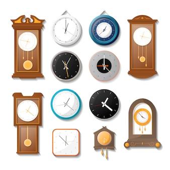 Conjunto de reloj de pared mecánico clásico.