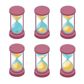 Conjunto de relojes de arena con proceso de arena que fluye