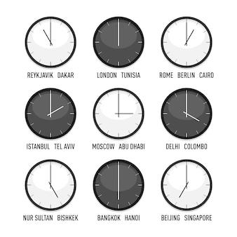 Conjunto de relojes para la hora de la zona horaria