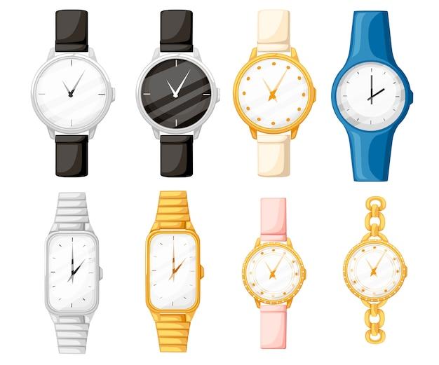 Conjunto de relojes de pulsera de diferentes estilos y colores. colección de relojes para hombre y mujer. ilustración plana aislada sobre fondo blanco.