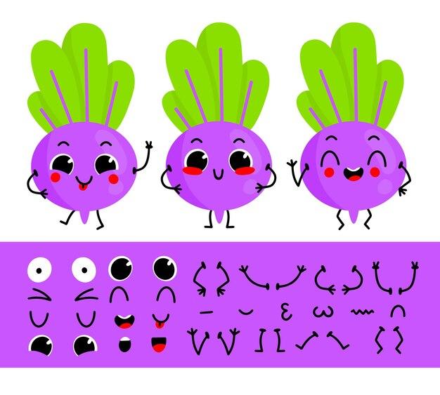 Conjunto de remolacha para crear un personaje de dibujos animados divertido constructor de personaje de remolacha ilustración vectorial