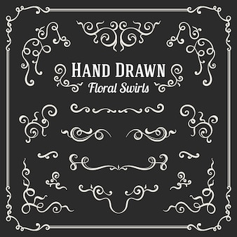 Conjunto de remolinos florales dibujados a mano y adornos