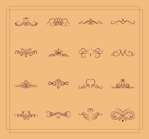 Conjunto de remolinos vintage sobre fondo marrón, estilo de línea, ilustración