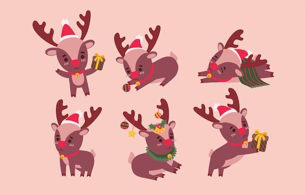 Conjunto de renos. personajes animales en varios gestos ilustración vectorial en rosa